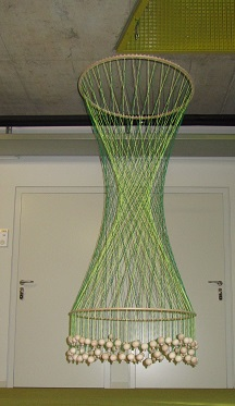 Model of Hyperboloid of revolution made of wood and strings